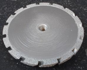Meule diamantée goutte d'eau Ø 125 mm passages fraisés